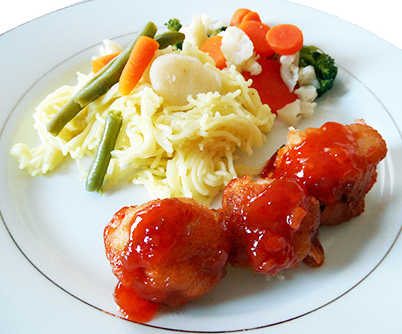 Sweet and Sour Chicken Balls with Cantonese Lo Mein Noodles